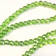 36 Inches Peridot 4mm Drawbench Glass Round Beads